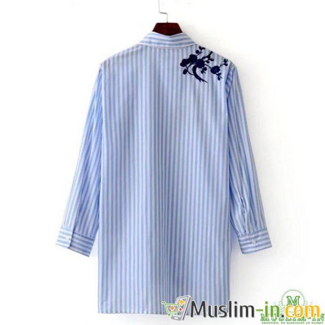 Chemise blouse à rayure bleue et blanche, avant doublé 1