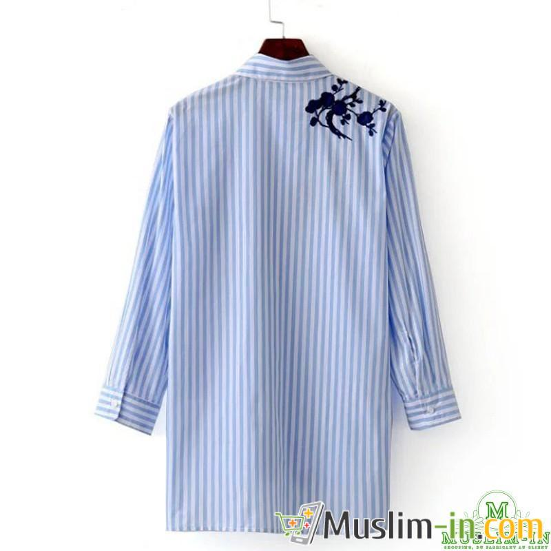 Shirt blouse with blue and white stripe, before double 1