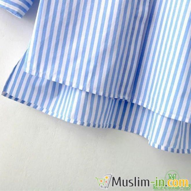 Chemise blouse à rayure bleue et blanche, avant doublé 3