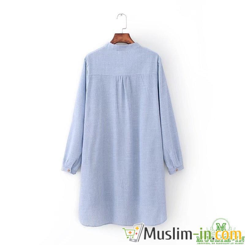 Chemise longue avec rayures et motifs 1