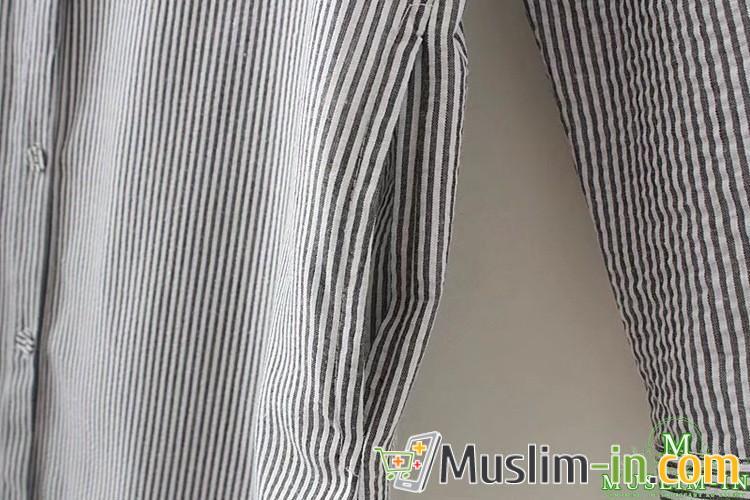 Chemise décontractée à rayure et décoration tour de cou 4