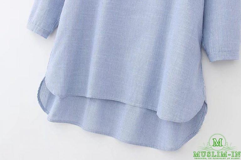 Chemise longue avec rayures et motifs 3