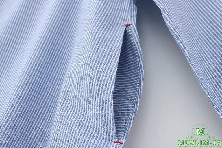 Chemise longue avec rayures et motifs 5