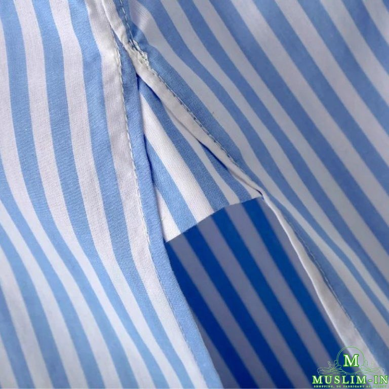 Chemise blouse à rayure bleue et blanche, avant doublé 4