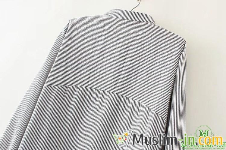 Chemise décontractée à rayure et décoration tour de cou