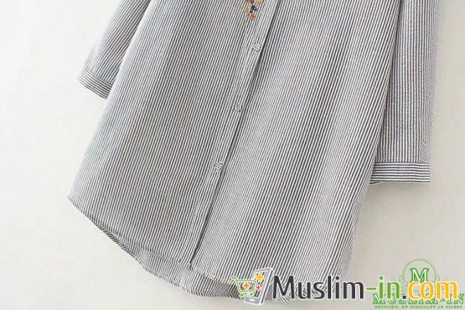 Chemise décontractée à rayure et décoration tour de cou 3