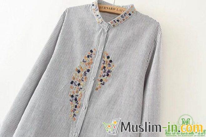Chemise décontractée à rayure et décoration tour de cou 2
