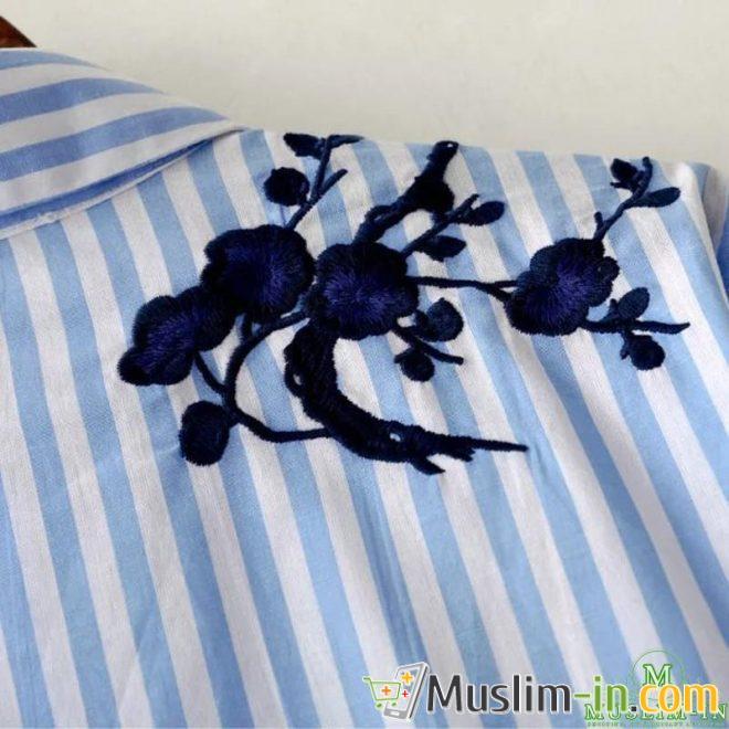 Chemise blouse à rayure bleue et blanche, avant doublé 5
