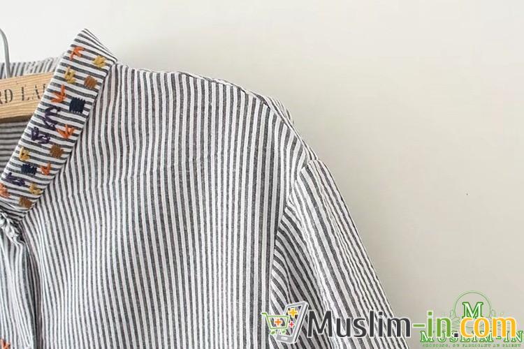 Decoración casual de rayas y cuello camisa
