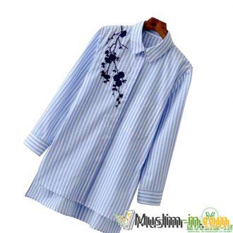 Shirt blouse with blue and white stripe, before double